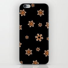 Snowflakes (Orange on Black) iPhone & iPod Skin