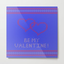Knitted background with hearts Metal Print