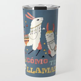 Como te Llamas. Funny Spanish Word Humor. Flowers and two Llamas Travel Mug