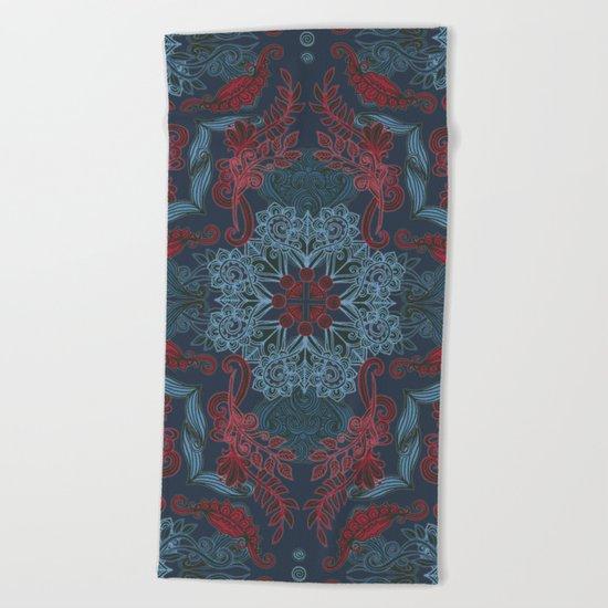 Vintage Fancy - a Pattern in Deep Teal & Red Beach Towel