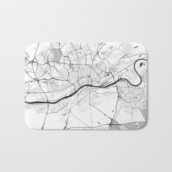 Frankfurt City Map Gray Bath Mat