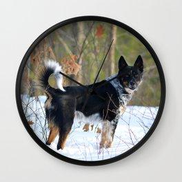 A dog's winter walk Wall Clock
