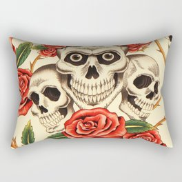 Skull wreath of roses Rectangular Pillow