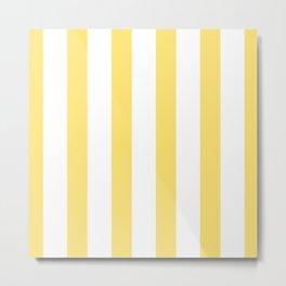 Yellow Striped Pinstripes Pattern Metal Print