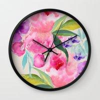 craftberrybush Wall Clocks featuring Floral white  by craftberrybush