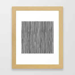 Skinny Stroke Vertical Black on Off White Framed Art Print
