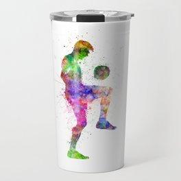 man soccer football player silhouette Travel Mug