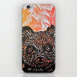brown bear in autumn leaves lino print iPhone Skin