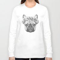 frenchie Long Sleeve T-shirts featuring Frenchie by Victoria Novak
