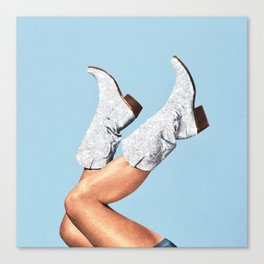 These Boots - Glitter Blue Canvas Print