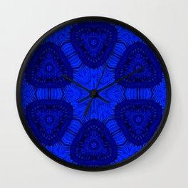 Geometric blue kaleidoscope pearls Wall Clock