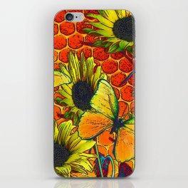 ORANGE-YELLOW BUTTERFLIES & SUNFLOWERS ARTISTIC HONEYCOMB DRAWING iPhone Skin