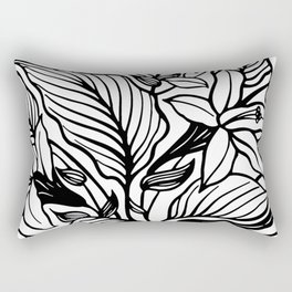 White And Black Floral Minimalist Rectangular Pillow