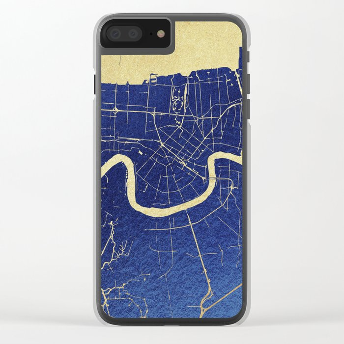 New Orleans Blue and Gold Map Clear iPhone Case