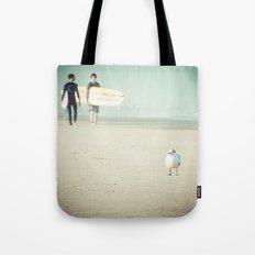 Bird Surfing Tote Bag