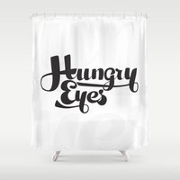 typo Shower Curtains featuring Hungry Hungry Typo by Hanna Stavenes