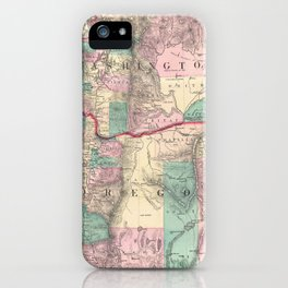 Vintage Map of Washington and Oregon (1875) iPhone Case