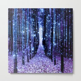 Magical Forest Turquoise Purple Metal Print