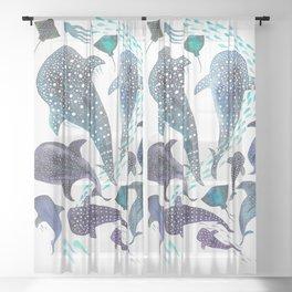 Whale Shark, Ray & Sea Creature Play Print Sheer Curtain