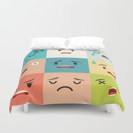 Negative emoticons vector pattern. Emoji square icons Duvet Cover