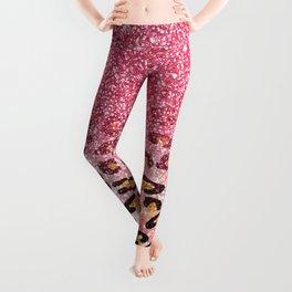 Cute girly trendy bubble gum pink faux glitter leopard animal print pattern Leggings