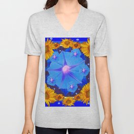 Blue Morning Glory Yellow Sunflowers Floral Pattern Unisex V-Neck
