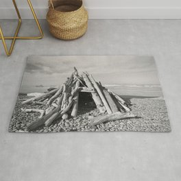 Driftwood Fort Cloudy Forest Beach Coast Coastal  Northwest Pacific Ocean Washington Rocky Waves Tre Rug