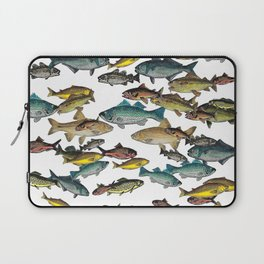 Fish Beach Nautical multicolor and black and white Laptop Sleeve