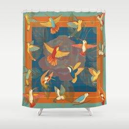 Hummingbirds in Orange Shower Curtain