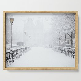Winter Walk (Black and White) Serving Tray