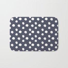 Brushy Dots Pattern - Navy Bath Mat
