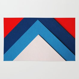 Red Blue White Geometric (Color) Rug