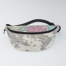 1852 J.H. Colton Map of the World Fanny Pack