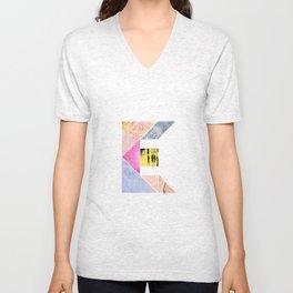 Collaged Tangram Alphabet - E Unisex V-Neck