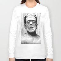 frankenstein Long Sleeve T-shirts featuring Frankenstein by Leyla Buk