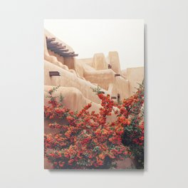 Santa Fe Photo - Pyracantha and Adobe Building Metal Print