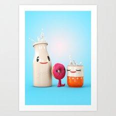 Happy Breakfast - Milk and Donut Art Print