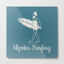 Hipster Surfing Metal Print