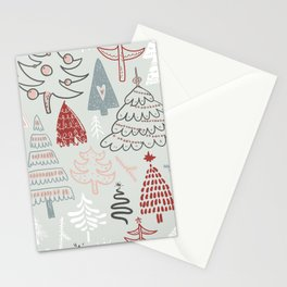Merry Christmas Hand Drawn Trees Stationery Cards