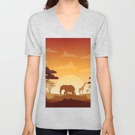 Abstract African Safari Unisex V-Neck