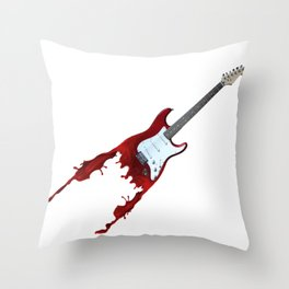Electric guitar red music rock n roll sound beat band gift idea Throw Pillow