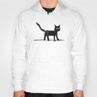 black cat Hoodies featuring Black Cat by Brontosaurus