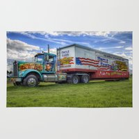 truck Area & Throw Rugs featuring Circus Truck by Ian Mitchell