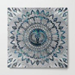 Egyptian Scarab Beetle Silver and Abalone Metal Print