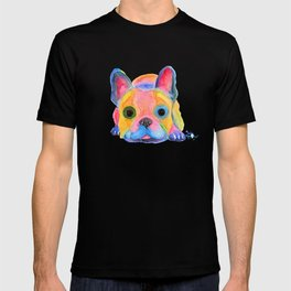 Nosey Dog French Bulldog ' AM I FRENCH ? ' by Shirley MacArthur T-shirt
