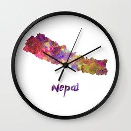 Nepal in watercolor Wall Clock