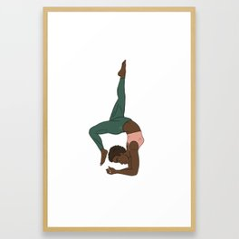 Beautiful Forest African Yogi in Kemetic Yoga Pose Framed Art Print