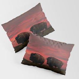 Two American Buffalo Bison at Sunset Pillow Sham