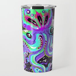 Funky Trippy Psychedelic Colorful Bioluminescent Octopus Travel Mug