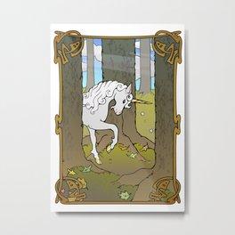 Autumn Unicorn Metal Print